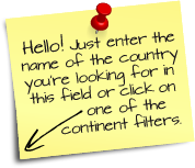 Hello! Just enter the name of the land you're looking for in this field or click on one of the continent filters.